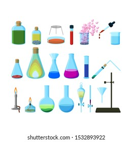Set of bright colorful chemical laboratory glassware isolated on white background. Cartoon style vector illustration