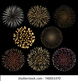 Set of bright colorful fireworks, EPS 10 contains transparency.