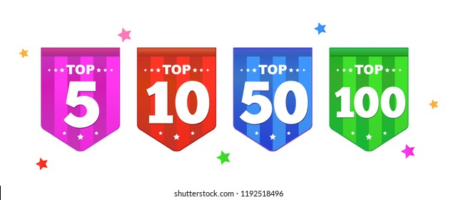 Set of bright colorful stickers Top 100, 5, 10, 50 with smile.  Symbol of achieved victory. Vector illustration in a flat style.