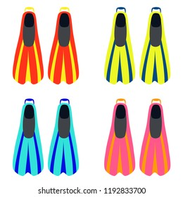 A set of bright colorful swimming flippers. Diving flippers. Swimming flippers. Vector illustration. EPS 10.