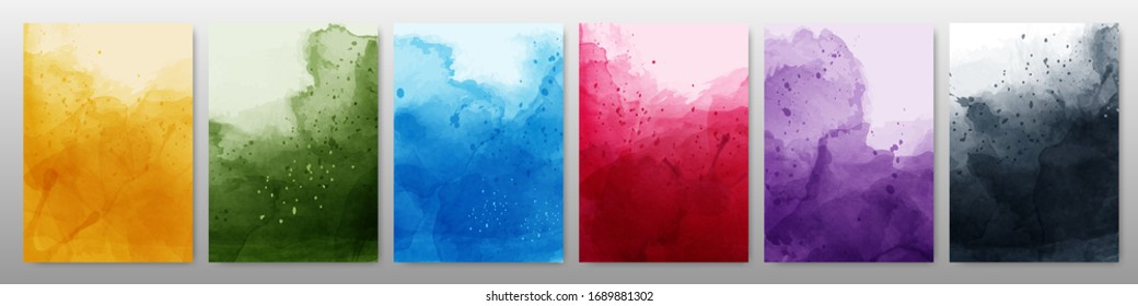 Set of bright colorful watercolor background. Template used as being an element in the decorative design of banner, cover, card and brochure.