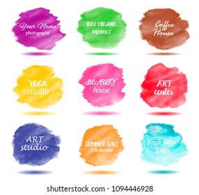 Set bright colorful - watercolor vector circle stain isolated on white background with realistic paper watercolor texture. Aquarelle vibrant spot. Blur wash drawing design element with shadow.