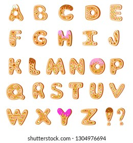 Set. Bright cookies english alphabet on white background. Letters in the form of cookies with a sprinkle and chocolate. Isolated objects. Vector illustration.