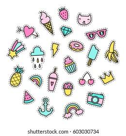 Set of bright cute pins. Vector hand drawn cartoon objects