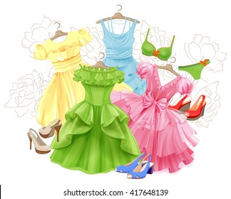 set of bright dresses, bikini and shoes