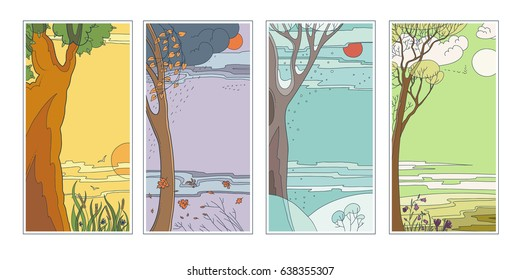Set bright flat vector natural backgrounds. Four seasons. Hot summer day, rainy autumn falling leaves, frosty snowy winter twilight in the forest and sun flower fields. Landscape at 4 times the year.