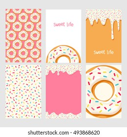 Set of bright food cards. Set of donuts with white glaze.  Seamless pattern, background, card, poster. Template for design