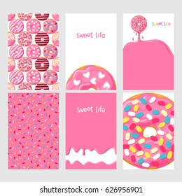 Set of bright food cards. Set of donuts with pink glaze. Seamless pattern, background, card, poster . Template for design.