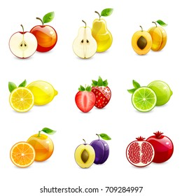 set of bright fruits and their halves on a white background