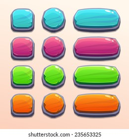 Set of bright funny buttons with different shapes and colors, beautiful stone elements for web or game ui design