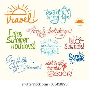 Set of Bright Hand Written Childish Inscriptions and Doodles for Summer Design. Vector Illustration.