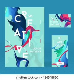 Set of bright  ink with abstract bird for a different design. Modern style trends. Liquid ink. Vector frame for text and labels.