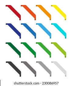 Set of bright isolated vector colorful ribbons for web. Round corners. Black, grey, red, orange, yellow, blue, cyan, green and white color
