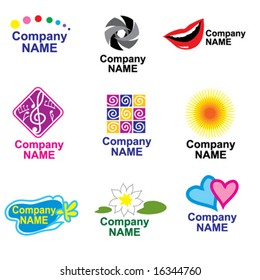 set of bright logos