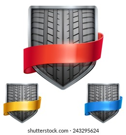 Set of Bright metal shield in the race tire inside and with ribbons. Editable Vector Illustration isolated on white background.