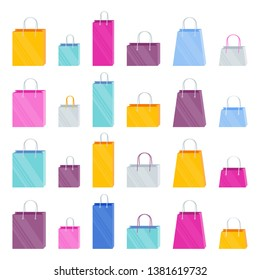Set of bright multi-colored paper shopping bags in the store. The element for the design of relame banners about discounts and sales.