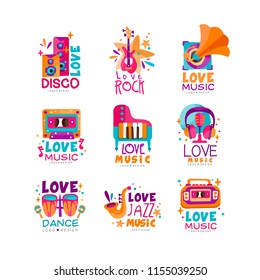 Set of bright music logos with musical instruments, cassette, tape recorder, gramophone and subwoofers. Vector design