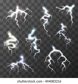Set of bright realistic thunderbolts on transparent background