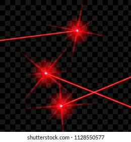 Set Bright red laser rays on a transparent background Vector illustration