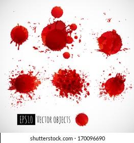 Set of bright red splashes. Vector illustration.