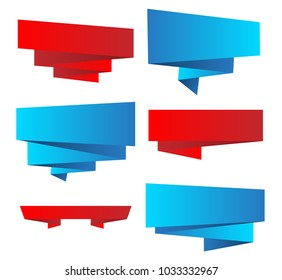 set of bright  ribbons with shadows. Vector design elements in retro style. Eps10