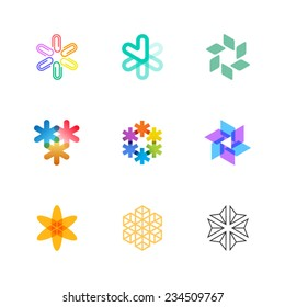 A set of bright round and asterisk logo illustrations