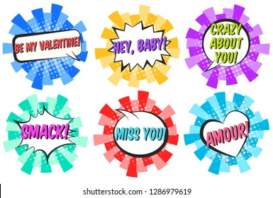 Set of bright round striped retro comic speech bubbles with halftone shadow in pop art style. Color message balloons with HEY BABY, AMOUR, SMACK text for St. Valentines decoration, advertisement text