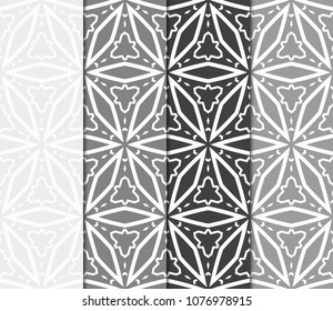 Set of Bright seamless pattern background. Vector illustration. Abstract geometric frame. Stylish decorative ornament.