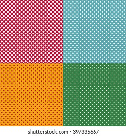 Set of bright seamless patterns with dots. Vector illustration.