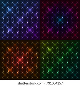 Set of bright, shining and glaring abstract patterns with circles. Beautiful decorative rounds on dark cosmic background. Vector EPS10 file.