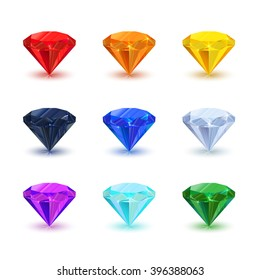 Set of bright shiny gemstone isolated on white. Diamond, sapphire, ruby, emerald, and other.