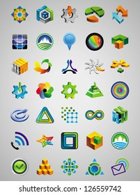 Set of bright signs and symbols - 50 abstract design elements