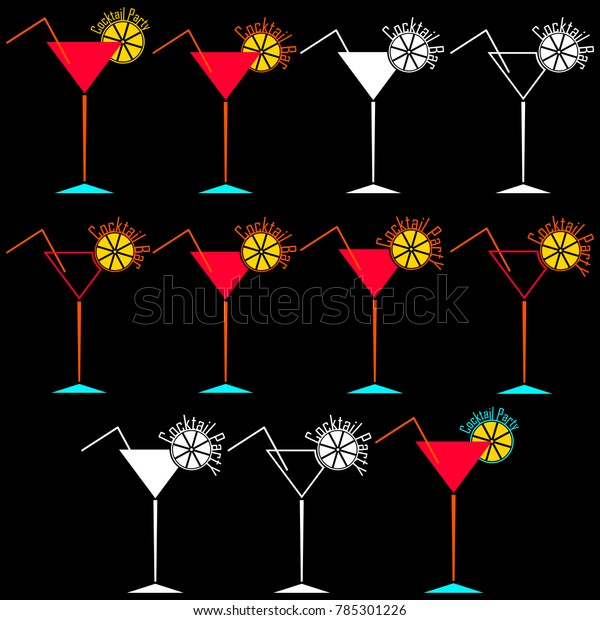 Set Bright Silhouettes Logos Alcoholic Cocktail Stock Vector