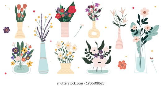 Set of bright spring blooming flowers in vases and bottles isolated on a white background. Cartoon flat vector illustration.