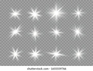Set of bright stars on a transparent background. Glare, explosion, sparkle, line, sun flare. Set of white glowing stars with light burst. Sparkling magic dust particles. Vector illustration, EPS 10.