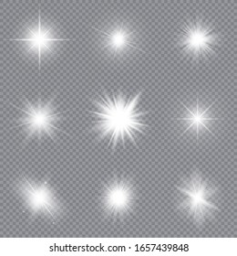 Set of bright stars. Sunlight translucent special design light effect. Vector illustration.