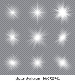 Set of bright stars. Sunlight translucent special design light effect. Vector illustration