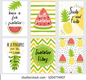 Set of bright summer banners with summer quotes fresh fruits shapes: pineapple watermelon tropical leaf Vector illustration Hand drawn cards with text Hello Summer Sun Fun Summer Vibes Be a Pineapple