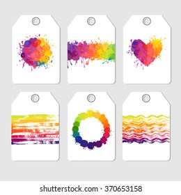 set of bright tag cards, colorful vector present tags, six abstract labels with splatters and stains