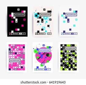 Set of bright template for design. Perfect suitable magazine cover poster