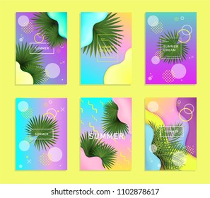 Set of bright and trendy summer fashion, party flyers, cards, posters with palm leaves, liquid gradient shapes on abstract background. Pink, blue, yellow, violet colors. Vector editable illustration