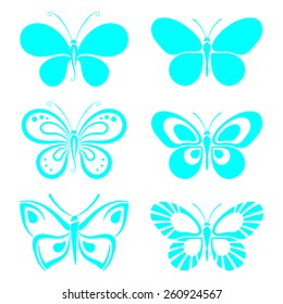 set of bright turquoise butterflies