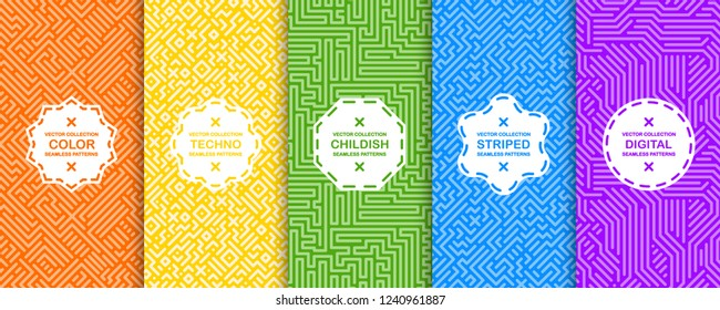 Set of bright vector colorful seamless geometric patterns - striped design. Vibrant digital backgrounds, endless  textures