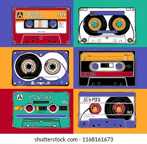 Set of a bright Vintage different Audio Cassettes in Pop Art style. Poster, card, t-shirt composition, hand drawn style print. Vector illustration.