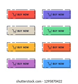 The set of bright web buttons for making purchases. Buy now buttons. Vector illustrations.
