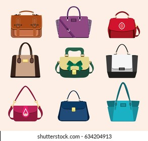 Set of bright women's bags. Fashionable and stylish collection on light background. Flat style vector illustration.