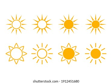 set of bright yellow abstract suns for weather forecast. vector illustration isolated on white background. sun icon