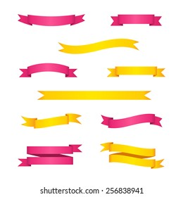 Set of bright yellow and pink ribbon banners. Vector illustration.