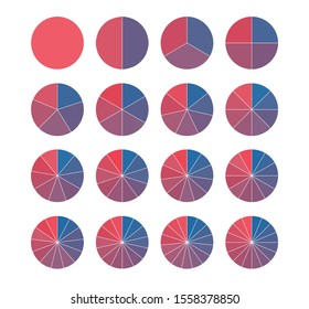 Set of brightly colored pie charts. Circle segments set. Fraction mathematics. Infographics circuit process.