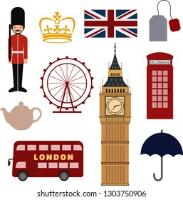 A set of British national symbols: double decker, teapot, teabag, telephone booth, queen's guard, umbrella, big ben, the Union Jack